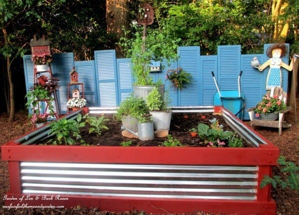Ideas For Raised Garden Beds brick lined beds Corrugated Metal And Wood Beds