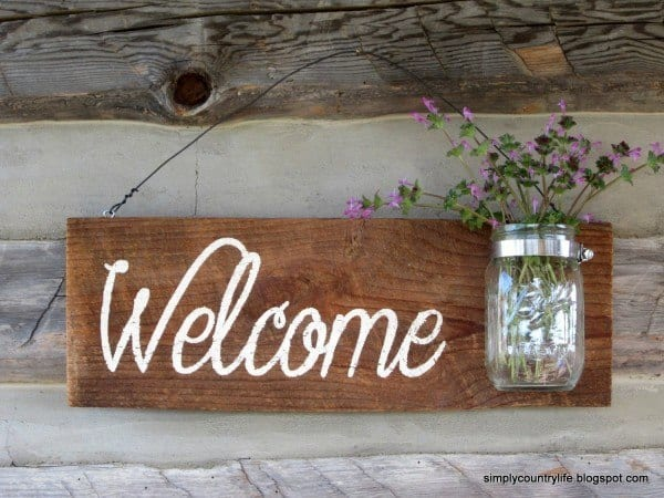 welcome sign mason jar