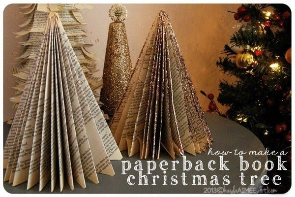 old book xmas tree - 32 Homemade Eco-Friendly Christmas Decorations That Look Stunning
